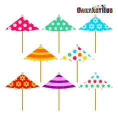 Cocktail Umbrellas Digital Clip Art for by DailyArtHub on Etsy