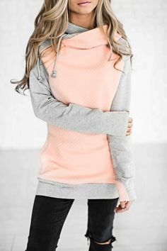 quilted hoodie, double hood hoodie, ootd, comfy, fashion, style, blonde, hair, shop, jessakae