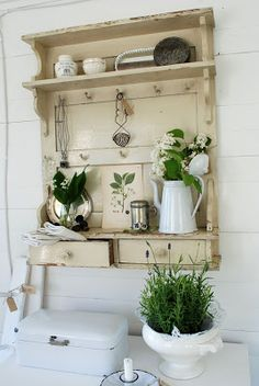 Salvaged wood and hardware are used to make a great wall shelf - White Ranunkler