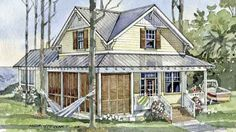 Looking for the best house plans? Check out the Pine Island Retreat plan from Southern Living. Beach Cottage Decor, Coastal Cottage, Coastal Homes, Coastal Living, Cottage House Plans, Cottage Homes, Farm House, Southern Living House Plans, Pine Island