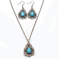 """💙 Blue Silver Turquoise Necklace and Earrings Set Brand new Metal: alloy Stone: Turquoise Pendant: approx 1"""" Chain: approx 18"""" (adjustable link ) No Brand Jewelry Necklaces"""