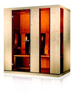 Die Ergo-Balance III Infrarotkabine mit LED-Farblichtbad      Aromabad      Fußboden mit integrieter Thermozone      Vollspektrum - Sonnenlicht,      ergonomisch geformte Armlehnen und bewegliche Rückenlehnen      zwei Handtuchhalter      vollelektronische Steuerung mit sensitivem Bedienfeld und integriertem Mp3-Player      wahlweise Glas/Holzteile