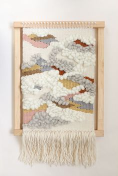 laine mèche wool roving Woven wall hanging by Alchemy on the loom. Handwoven using plant dyed and undyed Australian wool yarns and fibres. Weaving Textiles, Weaving Art, Tapestry Weaving, Loom Weaving, Hand Weaving, Weaving Wall Hanging, Hanging Plant, Wall Hangings, Diy Broderie