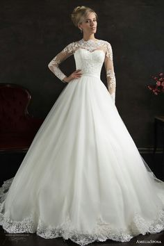 "Lace High Neckline With Long Sleeves Ball Gown; ""Nubia"" by AmeliaSposa Bridal 2015~~"