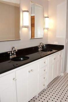 classic black and white bathroom by alisha gwen interior design