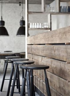 DREAM SPACES: RUSTIC MODERN.  Love these stools and the bench. Look at wood