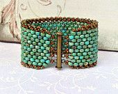 Peyote Stitch Beaded Bracelet ~ Beadweaving Rustic Turquoise Czech Cuff~Antique Brass Western Boho Chic ~ Peyote Chic by Country Chic Charms