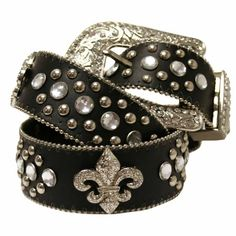 50% Off was $36.00, now is $17.98! Black Fleur Di Lis Rhinestone Western Bling Belt