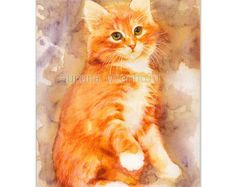 Can I trust you? - PRINT - HANDSIGNED fine art print from watercolor painting (cat kitty kitten Katze gato chat feline)