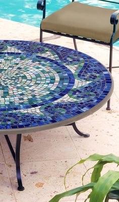 Our expressive and masterful Ocean Waves Mosaic Tabletops from KNF-Neille Olson…