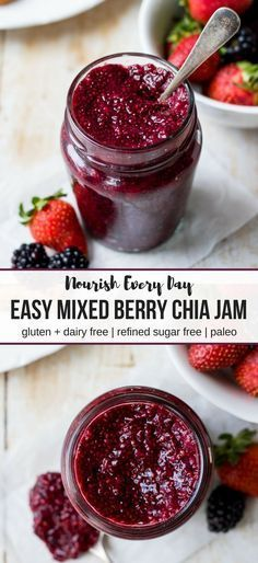 Easy Mixed Berry Chia Jam; only four ingredients needed to make this healthy jam that is gluten free, dairy free, paleo and refined sugar free!