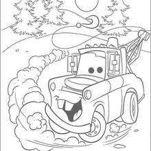Mater :).    Cars coloring pages.  The boys would love these!  You could print them in a small size in doubles & make a simple matching game too.