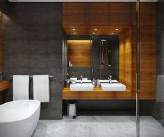 Karolina Krac   projektowanie wnętrz   Projekty Modern Luxury Bathroom, Modern Small Bathrooms, Dark Bathrooms, Bathroom Design Luxury, Dream Bathrooms, Modern Bathroom Design, Grey Kitchen Designs, Toilet Design, Bathroom Toilets
