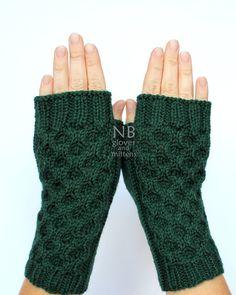 Hand Knitted Fingerless Gloves, Dark Green, Gloves & Mittens