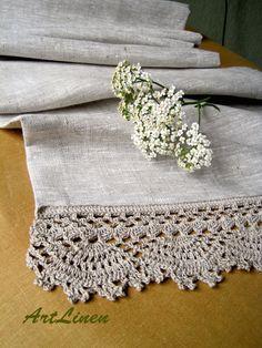 Linen tablecloth Crochet table runner Lace tablecloth with lace Tablecloth Fabric, Crochet Tablecloth, Crochet Doilies, Crochet Edgings, Tablecloth Ideas, Crochet Home, Easy Crochet, Crochet Borders, Crochet Motif