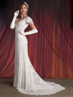 Bridal Gowns: Eliza Jane Howell Sheath Wedding Dress with V-Neck Neckline and No Waist/Princess Seams Waistline Waistband needed, ditch the gloves Wedding Dresses 2014, Designer Wedding Dresses, Wedding Gowns, Bridesmaid Dresses, Bridesmaid Ideas, Sheath Dresses, Gatsby Wedding, Wedding Attire, Wedding Events