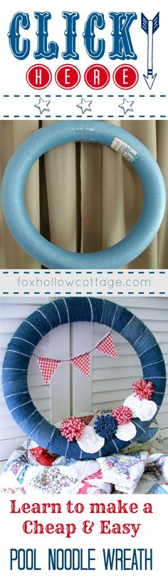 DIY Pool Noodle Wreath Tutorial -- Patriotic Repurposed Denim Door Decor -- Memorial Day Fourth of July. @Fox Hollow Cottage