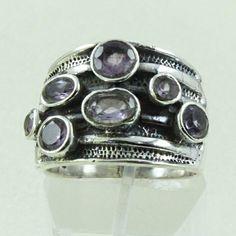 Gallery Design Amethyst Stone 925 Sterling Silver Ring by JaipursilverindiaCo on Etsy