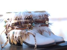 White upcycled boho cowboy boots from TheLookFactory on Etsy