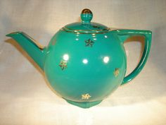 HALL TEAL TEAPOT Decorated with gold stars circa 1940 (found on Etsy)