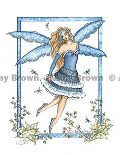 """""""Blue Dragonfly"""" ORIGINAL ART - Watercolor Paintings A - H - Amy Brown Fairy Art - The Official Gallery"""