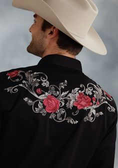 Mens Embroidered Western Shirt - Baroque Rose