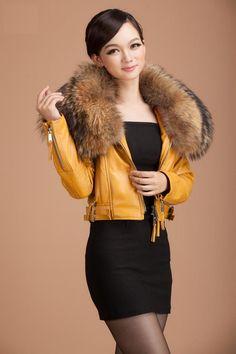 Factory Women Sheepskin Genuine Leather Jacket Raccoon/Rabbit Fur Collar  New Classic Luxury Yellow Slim