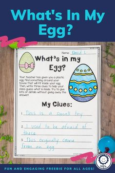 Enjoy this cute FREEBIE for spring and Easter. You give your students a plastic egg to take home. They must find something to put inside it and write three clues about their object. Then, the class gets a chance to guess what's inside the egg. Students will feel confident and empowered as they choose what goes inside their egg. #easter #freebie #k-5 Egg Names, 5th Grade Classroom, Plastic Eggs, Spring Activities, Your Teacher, 5th Grades, Confident, Kindergarten, Homeschool