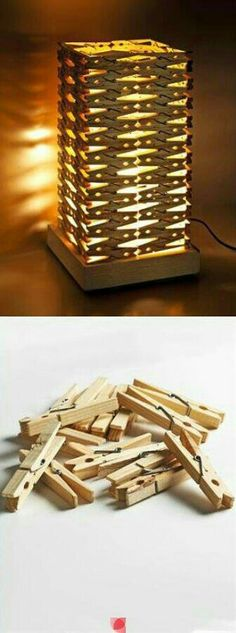 DIY lamp with clothes pegs Popsicle Stick Crafts, Craft Stick Crafts, Diy And Crafts, Deco Luminaire, Diy Home Decor Rustic, Ideias Diy, Wooden Lamp, Led Lampe, Recycled Crafts
