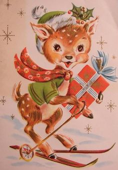 Vintage Xmas Deer Card