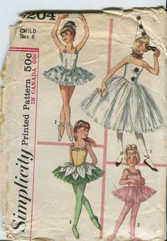 Simplicity 6204 Girls Ballet Ballerina Costume Hat Ruff TUTU Pattern Vintage Sewing Pattern Size 8 Breast 26 Or 6 Ballerina Costume, Ballet Costumes, Ballerina Dress, Tutu Costumes, Vintage Ballet, Vintage Dance, Vintage Costumes, Vintage Outfits, Vintage Fashion
