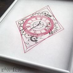 Clock with gears! #rawflow #tattoodesign #clocktattoo #timetattoo #time #geometrictattoo #redink #redtattoo #forearmtattoo #calftattoo