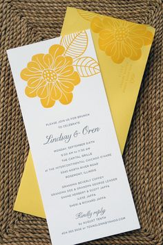 I love these yellow invitations from  Oh So Beautiful Paper. The yellow makes me think of a sweet warm summer morning. From #Atlanta Wedding Planner Andre Winfrye Events