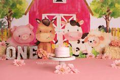 Girly farm animal cake smash first birthday photos Farm Animal Cakes, Farm Animals, First Birthday Photos, Cake Smash, First Birthdays, Birthday Cake, Girly, Desserts, Women's