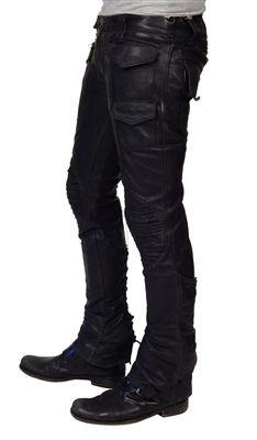 """Men's JUNKER Designs - """"MOTO"""" Black Lambskin Leather Pants"""