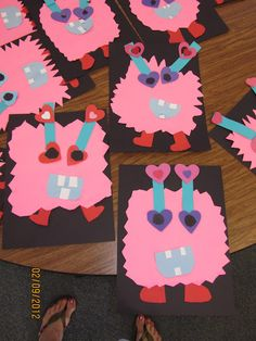 """love monsters - did this activity and the kids loved it! we wrote how we were love monsters and """"how-to"""" directions for making one. * This would be a great activity to pair with the book Love Monster! Valentine Theme, My Funny Valentine, Valentine Day Crafts, Holiday Crafts, Valentine Nails, Valentine Ideas, Kindergarten Art, Preschool Crafts, Crafts For Kids"""