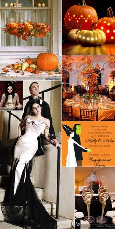 A spooky halloween themed wedding inspiration board