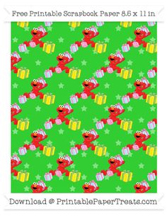 Free Lime Green Star Large Elmo Gifts Pattern Paper - Sesame Street