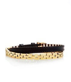 "Irving Place Wrap | Bracelets | Henri Bendel STYLE NUMBER: 26624813450193 Leather band with plated brass chain Buckle closure Dimensions: 19.5""-21""L X 0.375""W"