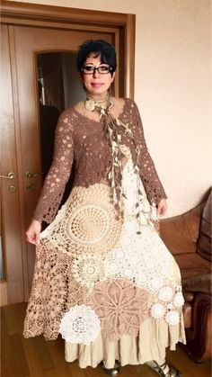 """We sew """"Boho"""" ourselves. Works of participants White Lace Skirt, Lace Dress, Altered Couture, Denim And Lace, Casual Skirts, Boho Outfits, Boho Fashion, Boho Chic, Ideias Fashion"""