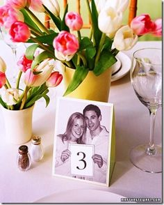 Table Number Idea using photographs of the couple -