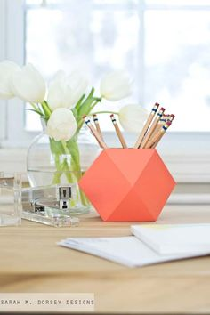 Fun DIY Ideas for Your Desk - DIY: Geometric Pencil Cups - Cubicles, Ideas for Teens and Student - Cheap Dollar Tree Storage and Decor for Offices and Home - Cool DIY Projects and Crafts for Teens http://diyprojectsforteens.com/diy-ideas-desk