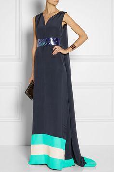 Roksanda Ilincic Lindal cape-effect silk blend gown with holographic PVC belt