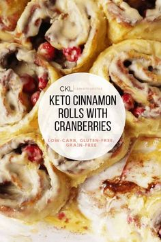 These Keto Cinnamon Rolls with Cranberry and Orange are absolutely delicious and perfect for the holidays! Your Thanksgiving and Christmas guests will thank you! They're fluffy, soft, and topped with the most amazing icing you've ever tasted! Did we mention these rolls are keto, low-carb, gluten-free, and grain-free?! Cinnamon Roll Dough, Keto Cinnamon Rolls, Coconut Flour, Almond Flour, Oat Flour, Melted Cheese, Grain Free, Keto Recipes