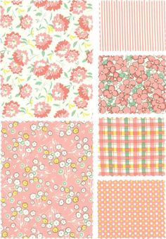 Coral-y, salmon-y ideas: Hopscotch Chloes Closet Vintage Reproduction Fabric Moda Floral Pink Stripes Retro Sewing Pattern Planner Bullet Journal, Bullet Journal Books, Bullet Journal Ideas Pages, Journal Stickers, Scrapbook Stickers, Planner Stickers, Scrapbook Paper, Kawaii Stickers, Cute Stickers