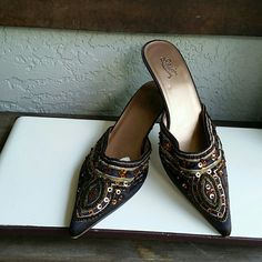 Bohochic Brown Beads/Sequins Pumps by Star Jones Brand Starlet by Star Jones Size 8W Very nice condition worn a few times Features pointed toe, low heel for comfort, satin embossed with Sequins and beading. Sparkle of that outfit in Star Jones Style  Bundles available with discounts Starlet Shoes Heels