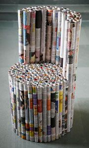 Newspaper Furniture - Yasmin Sethi Yasmin's Newspaper Furniture designed by her in 2005 is based on the principle that cylinders of hand rolled newspaper have a much greater vertical strength then individual sheets of paper. Yasmin attached these rolls together to create furniture that can easily take the weight of an adult