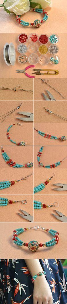 Handmade Ethnic Beaded Bracelet with Turquoise Beads More #diyjewelry