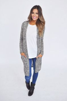 Heathered Long Open Cardi- Grey - Dottie Couture Boutique