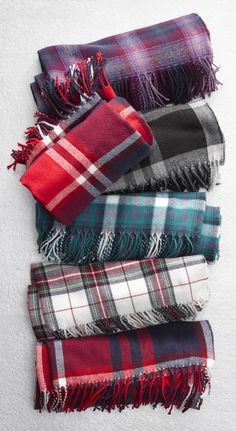 Stine's Favorite Flannel Woven Scarf   Oversized so it can also be worn as a wrap, this fringed scarf is made of incredibly soft acrylic that's yarn-dyed for clear, rich color.